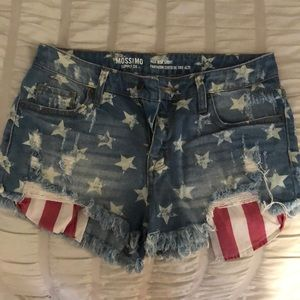 American flag high rise shorts, size 27!